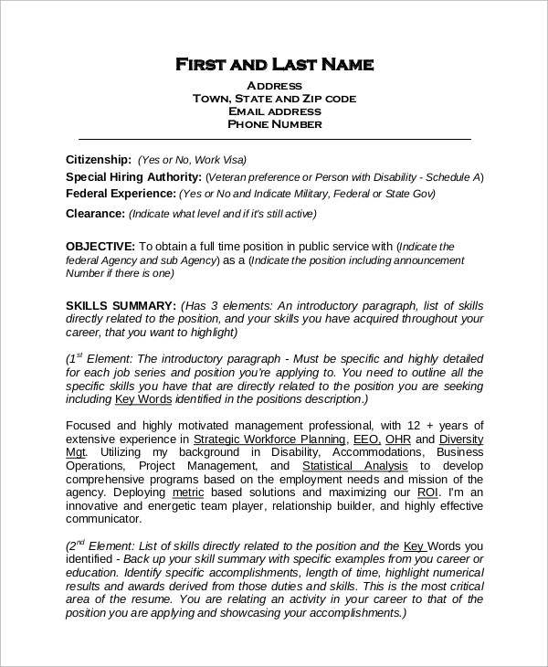 8 Sample Federal Resumes  Sample Templates