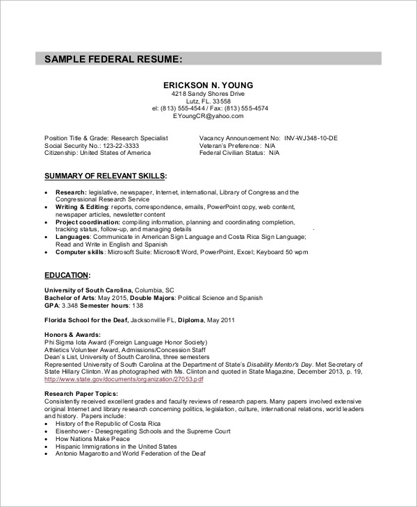 Sample Federal Resume  8 Examples in Word PDF