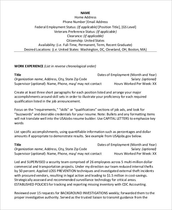 federal job resume cover letter template