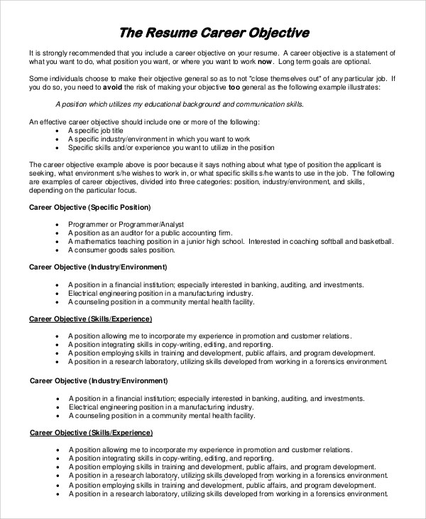 9 Resume Objectives Samples Sample Templates