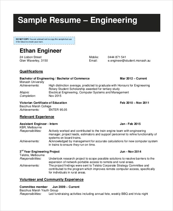 8 Samples Of Resume Sample Templates