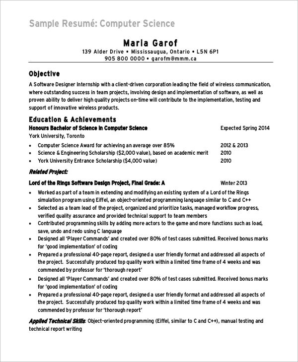computer science major resume example