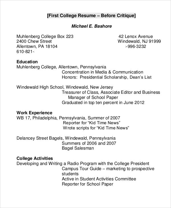 a resume sample for college student