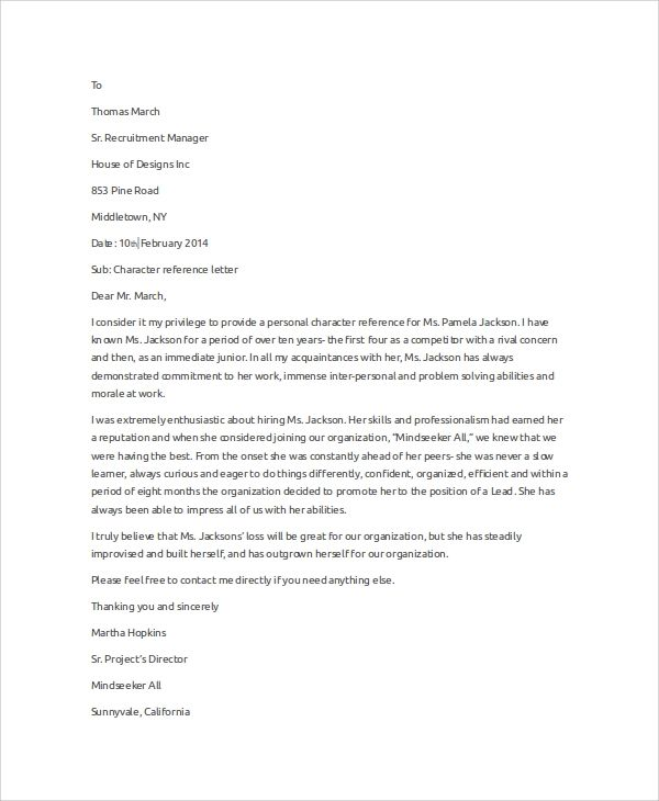 sample recommendation letter for character