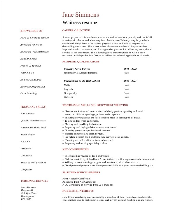 6 Sample Waitress Resumes  PDF Word  Sample Templates