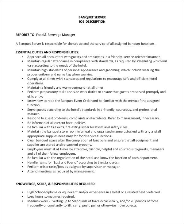 8 Server Job Description Samples Sample Templates