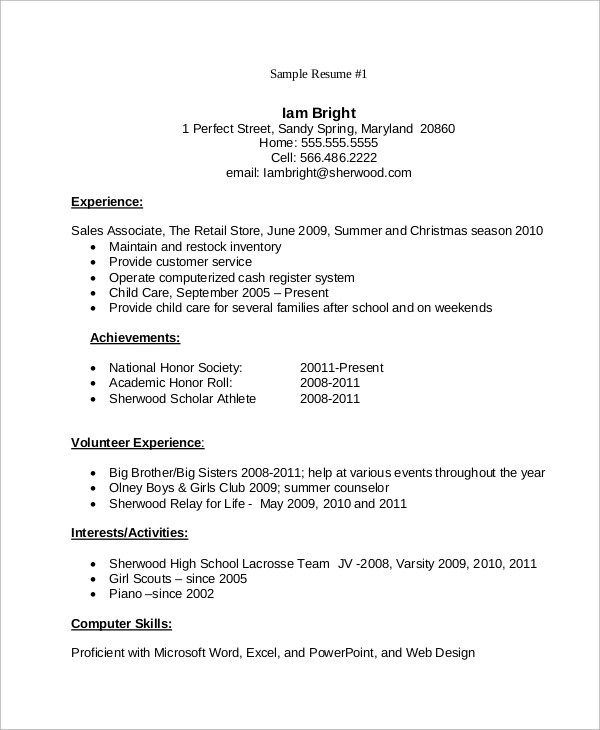 7 Student Resume Examples Sample Templates