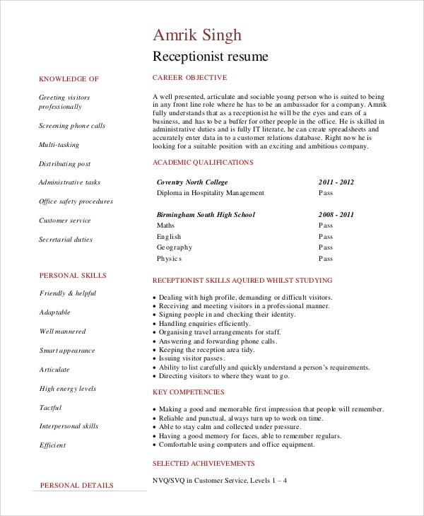 8 Sample Good Resume Objectives Sample Templates