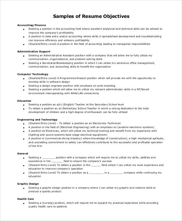 Resume Objective Example Resume Examples Good Objectives Format  General Resume Objective Examples