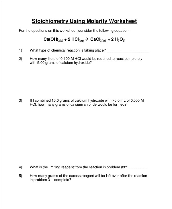 9+ Sample Stoichiometry Worksheets