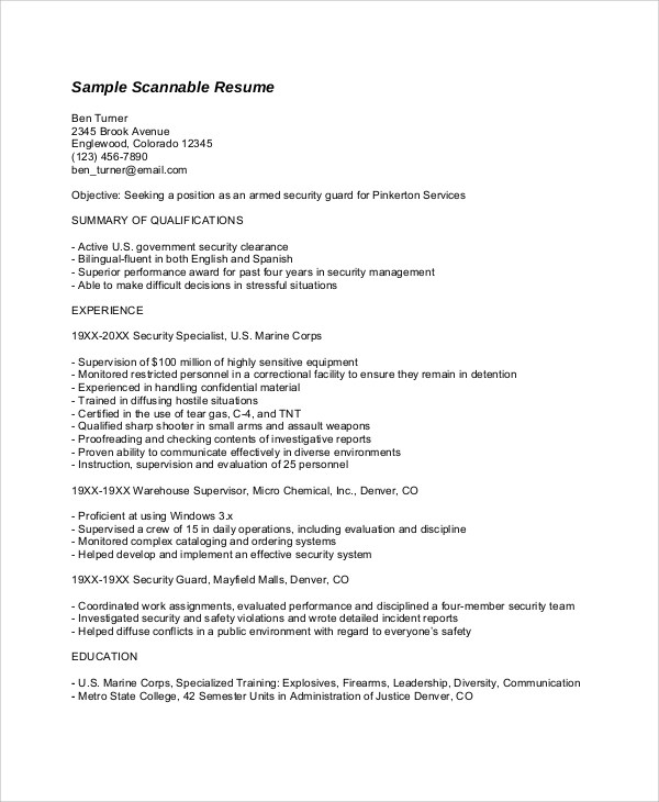 Attirant Scannable Resume Format Scannable Resume Samples