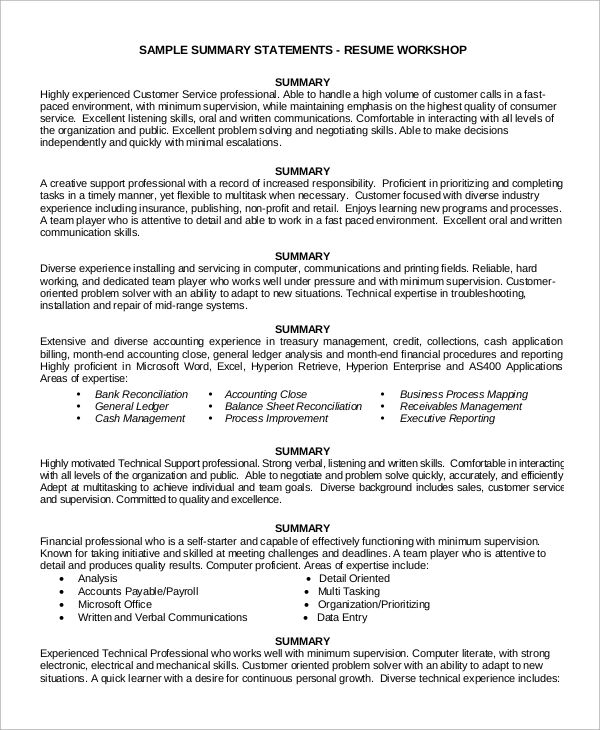 executive summary example for customer service resume