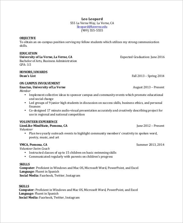 example of skills for resumes