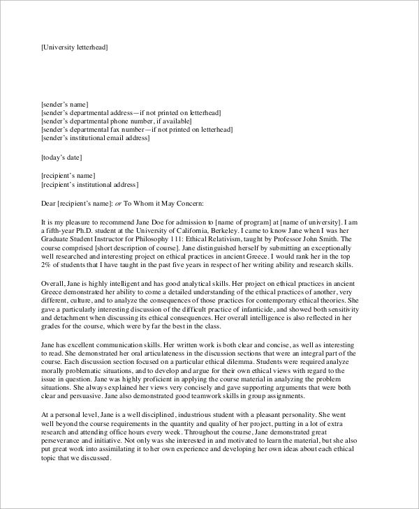 letter of recommendation heading format