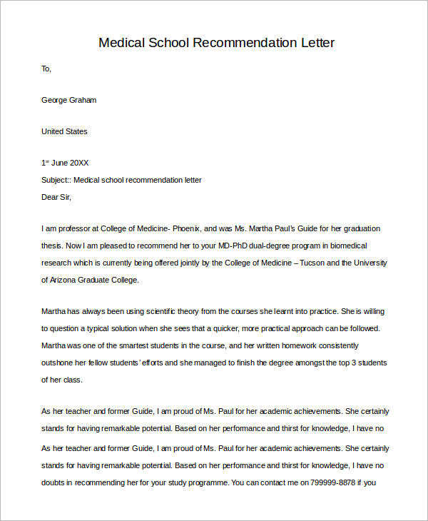letter of recommendation for medical doctor