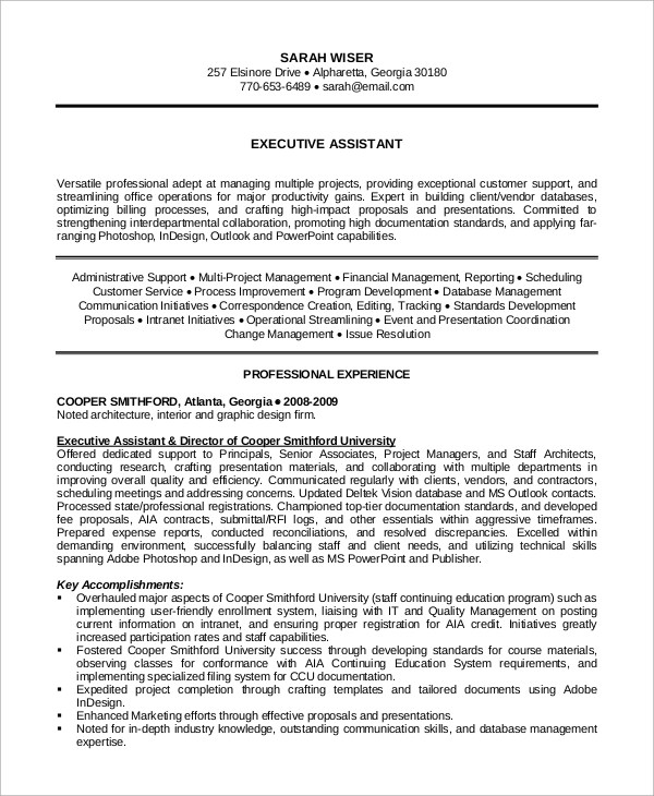 8 Sample Executive Assistant Resumes Sample Templates