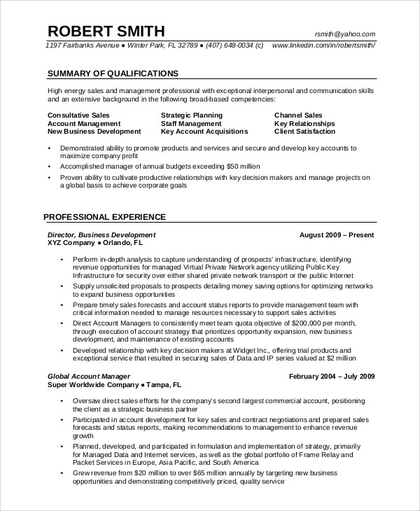 resume format for experienced professionals