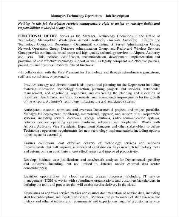 It Operations Manager Job Description | mwb-online co