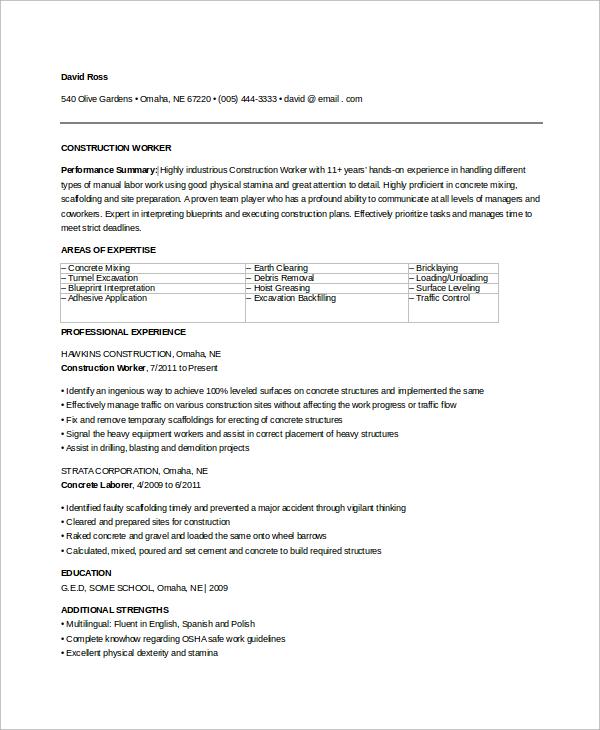 9 Sample Construction Resumes Sample Templates