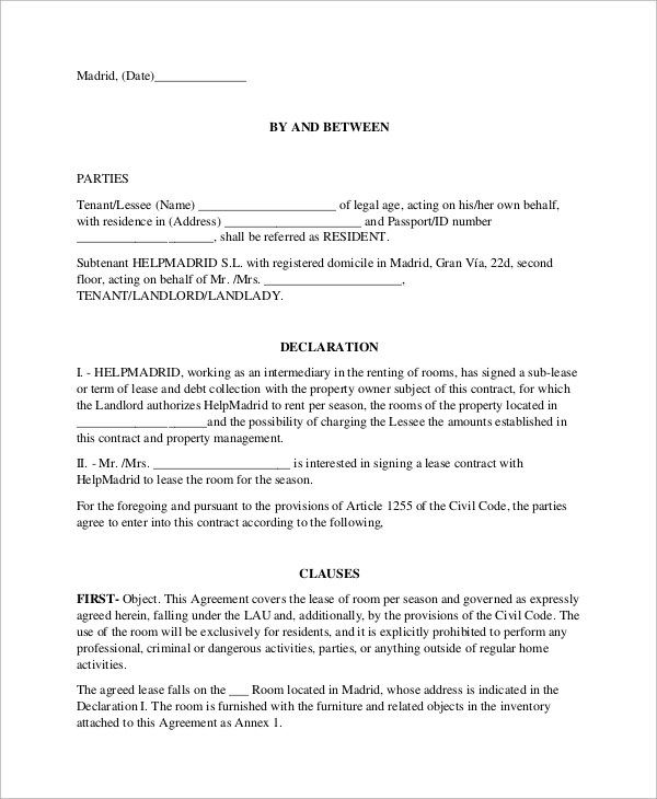 9 Room Rental Agreement Samples Examples Templates