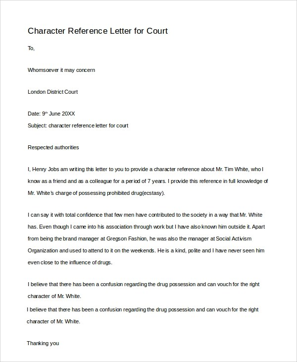 sample character reference letter for social worker