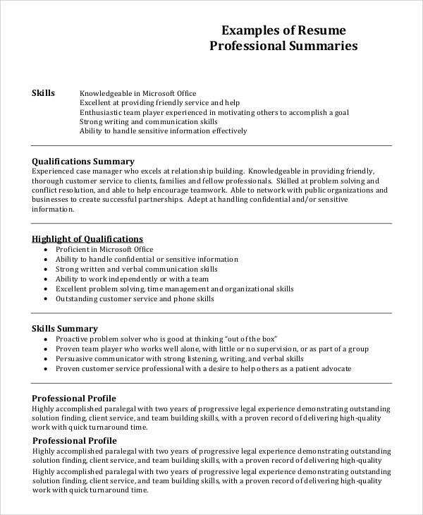Resume Profile Example 7 Samples In PDF Word  Professional Profile Examples