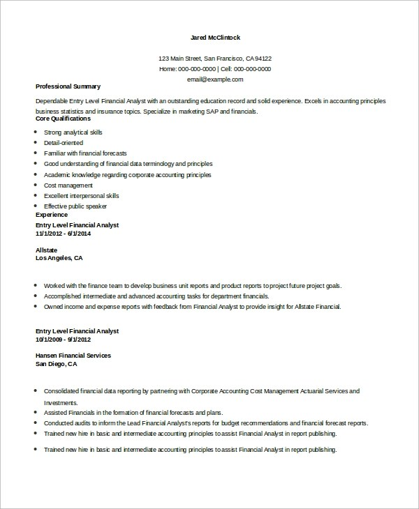 7 Sample Financial Analyst Resumes Sample Templates