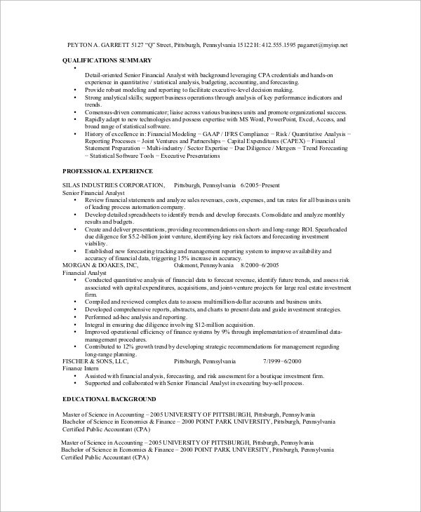 Example Of Financial Analyst Resume  Examples Of Resumes