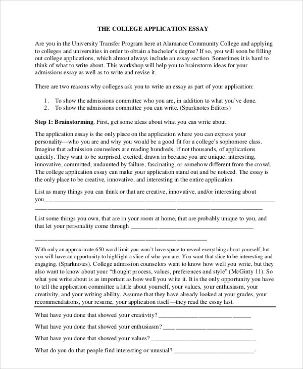 Sample College Essay  8 Examples in Word PDF