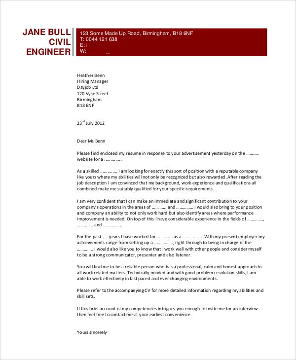 civil engineering internship cover letter