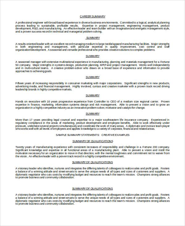 8 Resume Summary Examples PDF Word