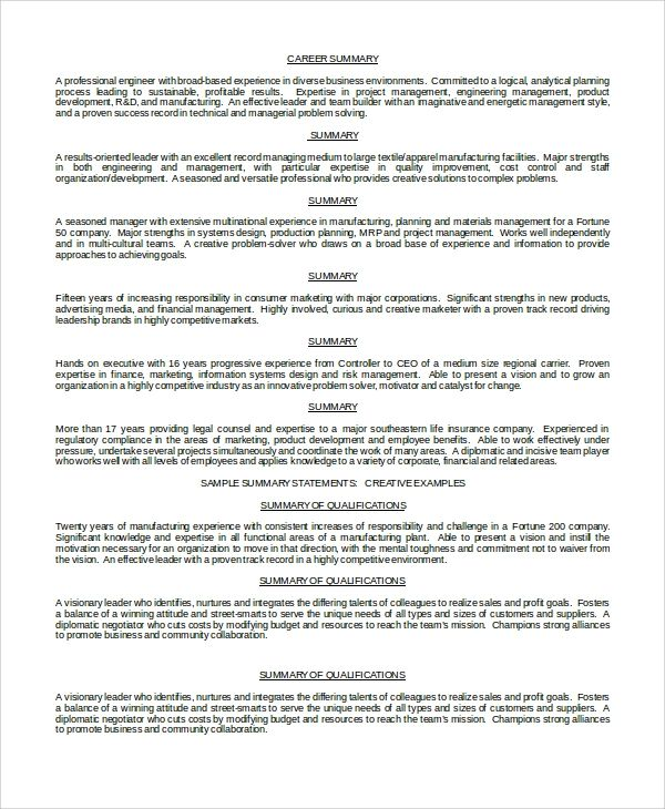 resume professional overview examples