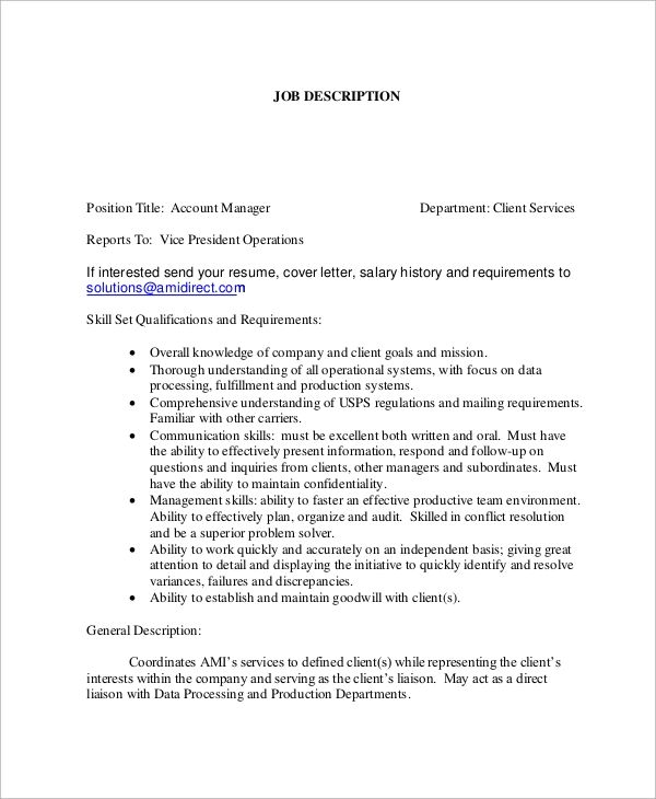 Account Manager Job Description Sample - Resume Examples ...
