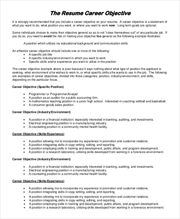Sample Job Objectives In Resume Sample Career Objectives Examples