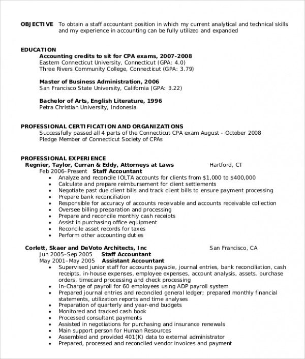 sample resume accounting staff