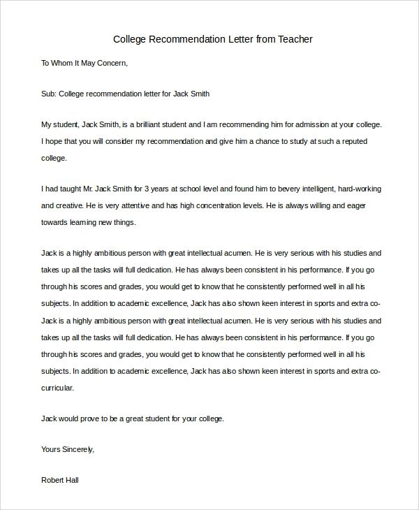 high school teacher recommendation letter