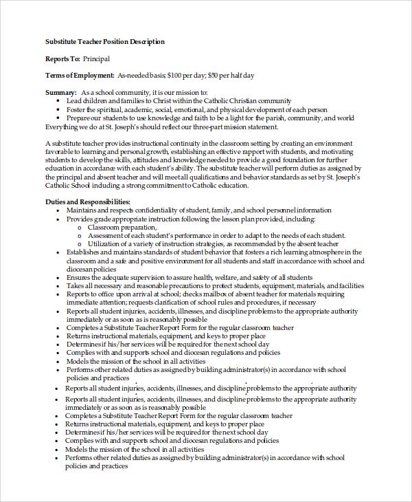 8 Substitute Teacher Job Description Samples Sample