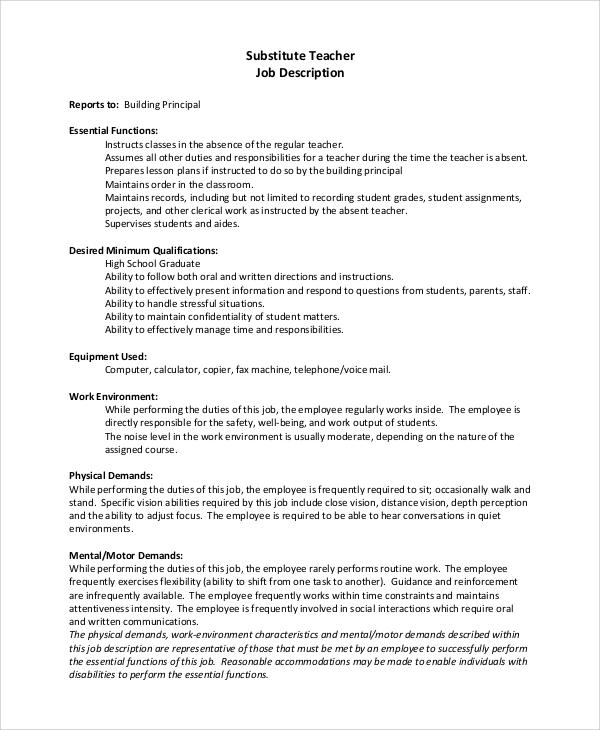 teacher resume job duties