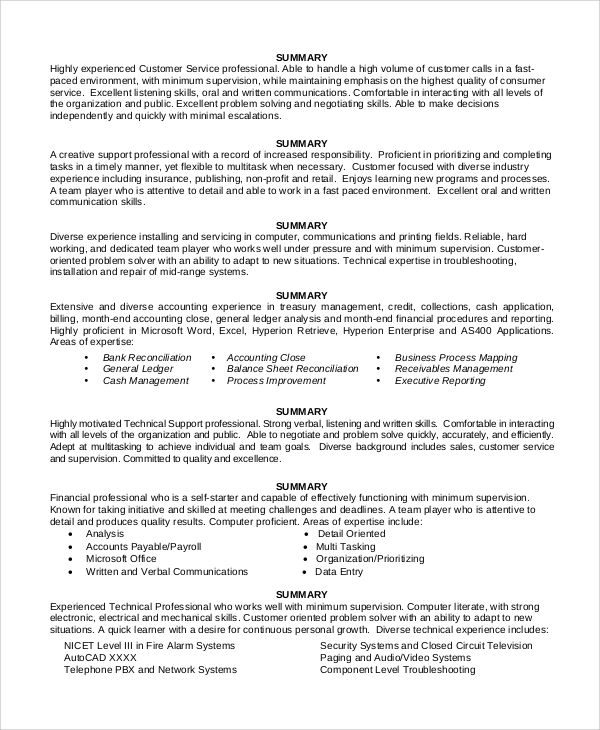 professional background summary for resume