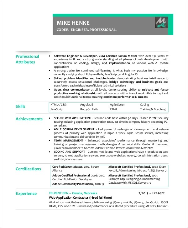 Scrum Master Resume Example  Examples Of Resumes