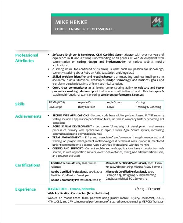 certified scrum master resume sample