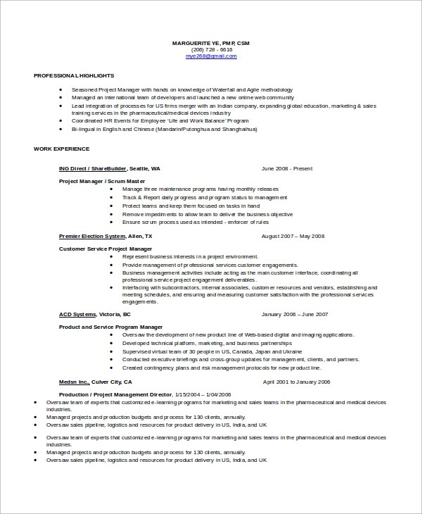 Certified Scrum Master Resume Sample High School Senior