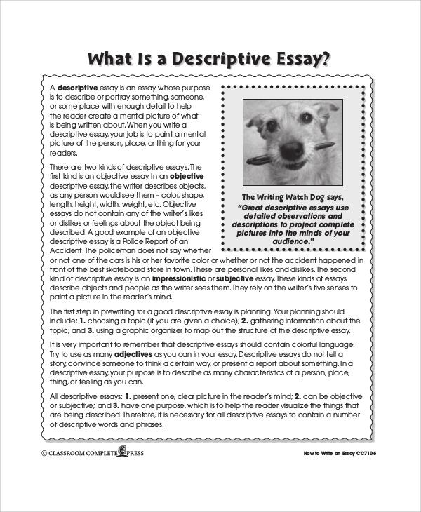 Descriptive Essay Example Pdf | Docoments Ojazlink