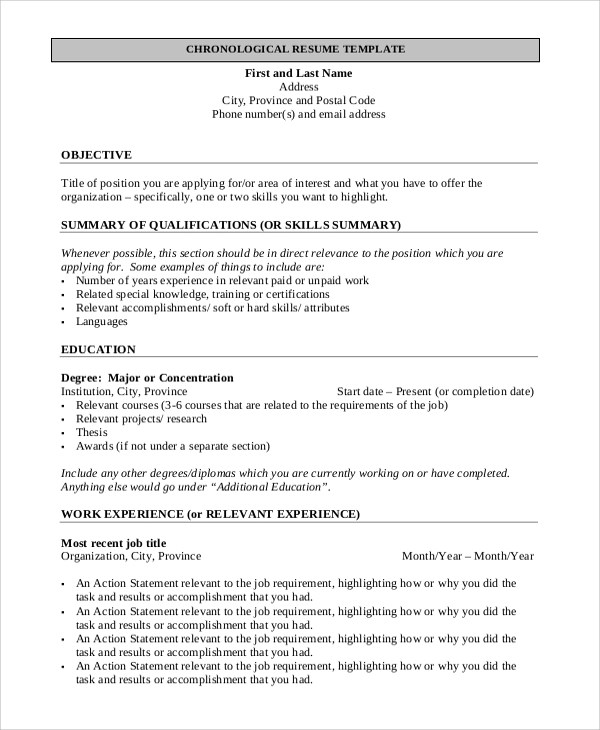 9 Simple Resume Formats  Sample Templates
