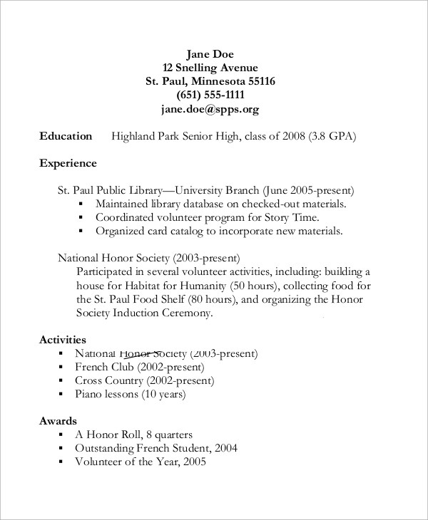 10 High School CV Samples Sample Templates