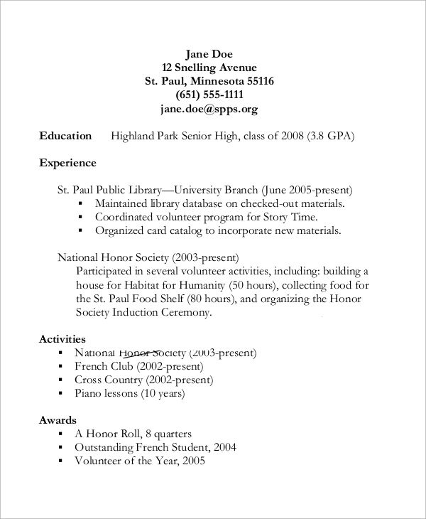 resume for students in high school