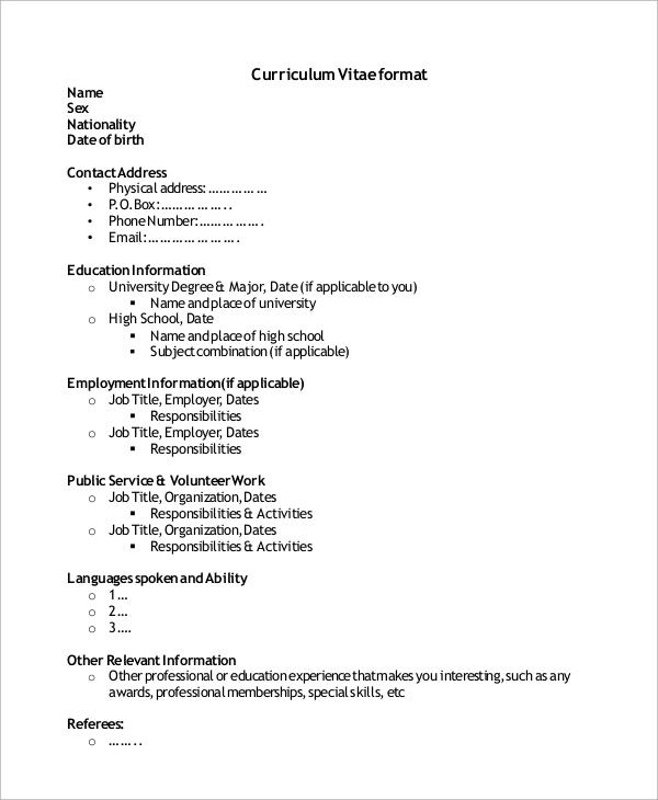 10 High School CV Samples Sample Templates