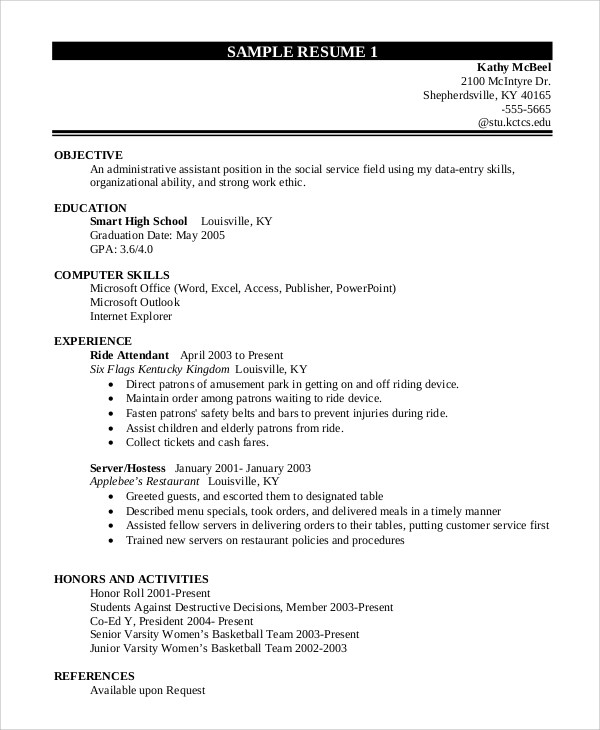 10 Sample Resume For College Students Sample Templates