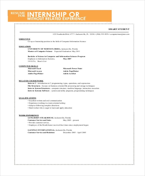 Free 10 Sample Resume For College Student In Ms Word Pdf