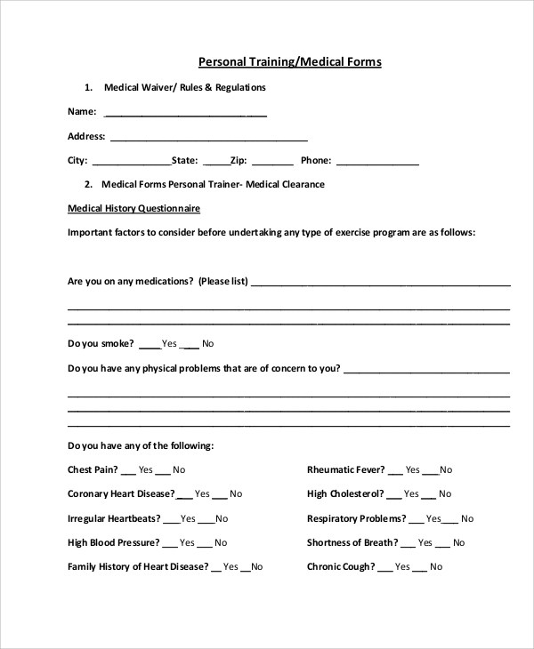 Sample Medical Forms  9 Examples in Word PDF